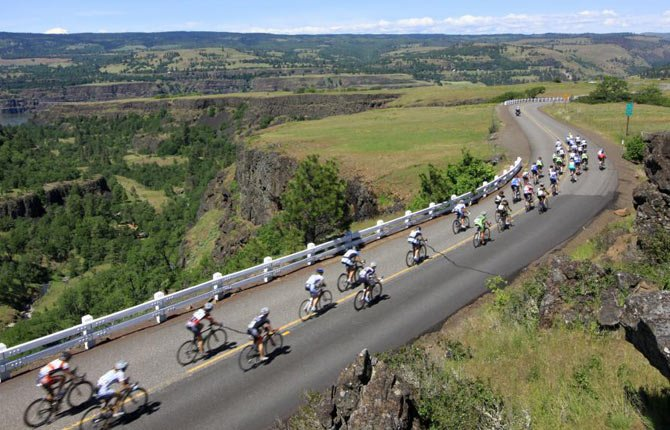 SPECTACULAR VIEWS, including those on the Historic Columbia River Highway, pictured above, will greet Cycle Oregon participants in Wasco County.