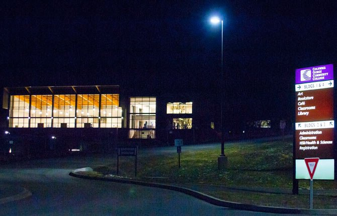 The Fort Dalles Readiness Center on the eastern edge of the campus at Columbia Gorge Community College will be lit up at night for the next two weeks as Hoffman Construction tests the electrical and lighting systems.