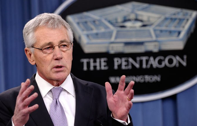 DEFENSE SECRETARY Chuck Hagel speaks Jan. 24 at the Pentagon in Washington. Hagel is ordering military leaders to put a renewed emphasis on moral behavior across the force following a series of