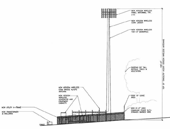 A basic look at a proposed 100-foot-high cell tower that would be located at 1247  Multnomah Road.