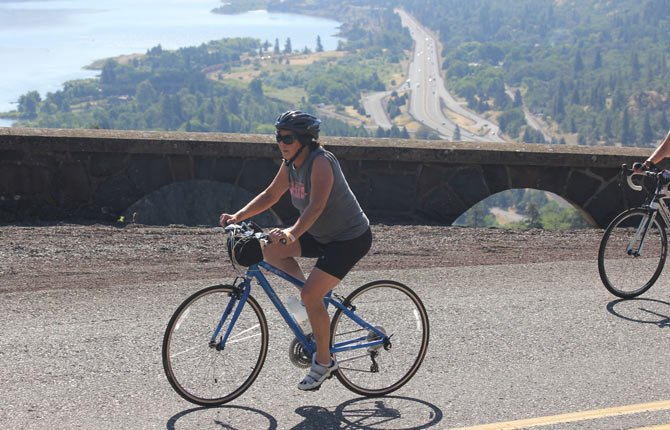 A RIDER MAKES the climb up the Rowena Loops through the Columbia Gorge.