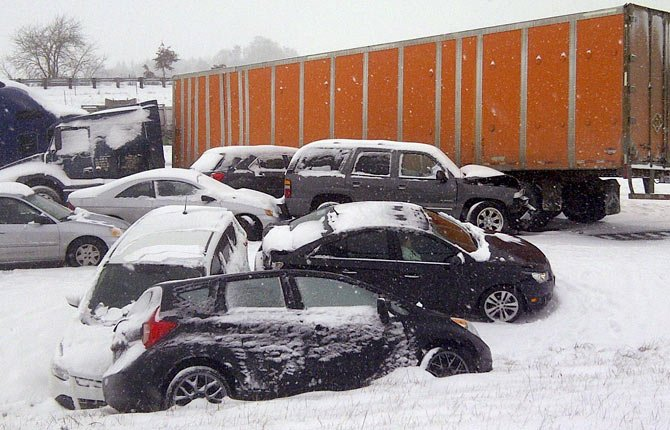 A SNOWY PILEUP near Albany snarled traffic on Interstate 5 during Thursday's snowstorm.