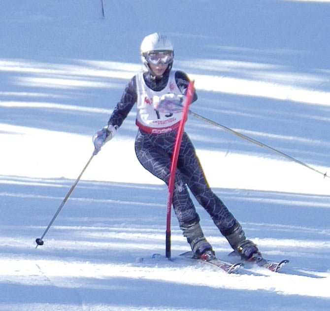 THE DALLES WAHTONKA skier Bailey Cordell runs downhill for her slalom run in a ski event earlier this season. Cordell and sister Carsen each ended up finishing in the top-8 to lead the Tribe to a second-place outcome.