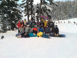 HRV snowboard team poses for a photo at a frosty practice this week at Mt. Hood Meadows. Pictured are (back to front, left to right) Christy Field, Caleb Rocha, Ian Davidson, coach Hector Marquez, Travis Duval, Edgar Castillo, Ethan Field, Brandon Fisher, Gabe Cunningham, Keenan Collins; coach Phineas England, Andy Schmidt, Santana Fores, Jonathan Hale, Thomas Foley, coach Kate Reid and Aleah Vaday (not pictured are Rain Vaday, Travis Duval and Rutger Bogard).