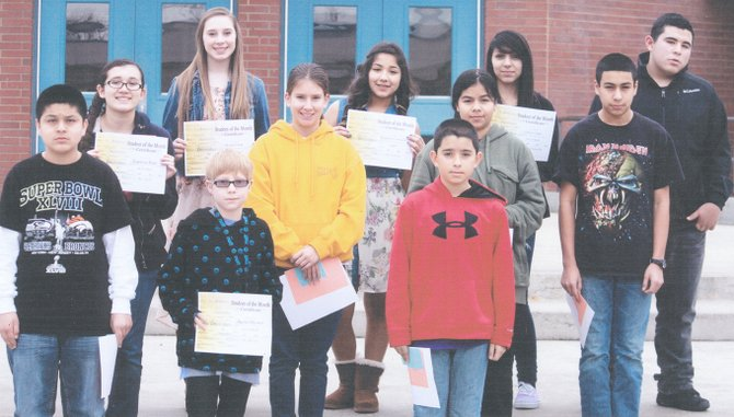 Sunnyside's Harrison Middle School students of the month for January are (front L-R) Julio Cantu, Austin Bliesner and Alex Gutierrez; (middle L-R) Laurissa Ruiz, Kameran Rodriguez, Neida Perez and Roberto Bravo; (back L-R) Morgan Duim, Estephany Gonzalez, Julissa Gomez and Patrick Gallardo. Not pictured: Javier Briones, Rosa Flores, Adilene Romero and Edith Barboza.
