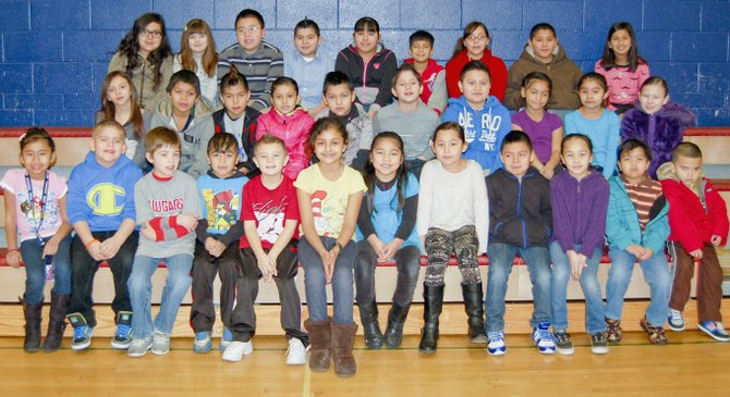 Sunnyside's Pioneer Elementary School students of the month for January as listed by school staff are (front row L-R) Monica Valencia, Andrew Bradsma, Caden Condie, Eliel Herrera, Carter Carrizales, Dulce Fernandez-Granados, Azeneth Ruiz Gomez, Leah Reyes, Fernando Hernandez, Adriana Amaro, Isaac Romero and Paul Valencia-Moran; (middle row L-R) Kyrah Davila, Valentine Galvan, Omar Herrera, Denise Correa, Hector Vazquez, Allan Medina, Joshua Rodriguez, Maya Garcia, Anai Perez and Aniyah Martinez; (back row L-R) Lizbeth Silva, Emma Kannely, Thinh-Huy Nguyen, Fabian Garcia, Julissa Vargas, Jonathan Ruldo, Jasmin Vigil-Lopez, Armando Escamilla and Alexia Mendoza. Not pictured are Dario Guizar-Rodriguez and Daisy Cortez.