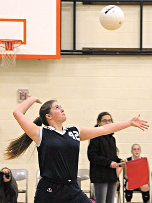 Grangeville Elementary Middle School eighth grader Julia Heath prepares to serve the ball to Asotin Tuesday, Feb. 4, at GEMS. The next seventh-eighth grade home match is set for Monday, Feb. 24, 4 p.m. in the new gym, against Nezperce and Summit.