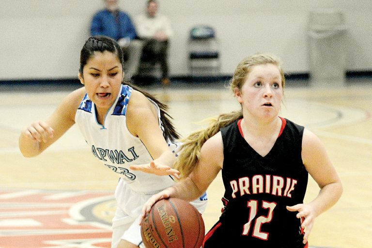 Prairie's Nicole Wemhoff brought the ball up the court most of night last Monday, Feb. 10, against Lapwai and gave the Pirates a bit of calm against a storming defense. Wemhoff steered clear of this steal attempt, but the Wildcats prevented this fast break from turning into a basket.