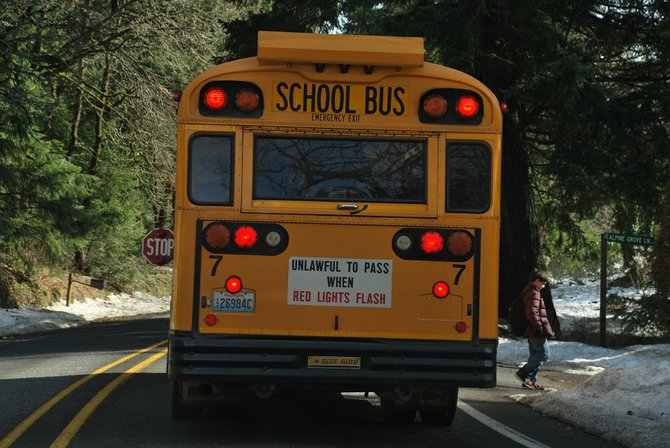 "Children unload from school buses off of Highway 141 on Thursday. In Washington it is illegal to pass a bus when it is loading or unloading students. Doing so is called a ""stop paddle violation"" and can carry a $394 fine, but that apparently doesn't stop some motorists from going around a school bus when it is stopped. This year, Susan Tibke, transportation director of the White Salmon Valley School District, instructed her drivers to note every stop paddle violation they witness. Between Oct. 15 and Feb. 6 Tibke's drivers reported 17 stop paddle violations. Only one of those reported incidents resulted in a ticket due to lack of information. Tibke would like to see that changed with the addition of cameras mounted on all buses specifically tailored to catching stop paddle violators."