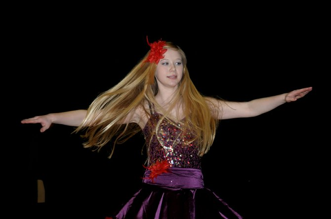 Grangeville High School student Hailey Uhlenkott performs a solo dance