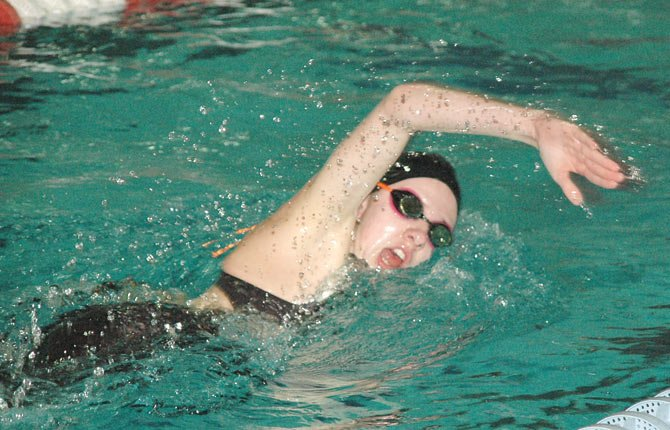 THE DALLES WAHTONKA swimmer Erin Nelson competes in the 500-yard freestyle event Saturday at the Columbia River Conference District meet Saturday in Hood River. Erin won the event to advance to the OSAA Class 5A state meet Feb. 21-22 at the Mount Hood Community College Aquatic Center in Gresham..