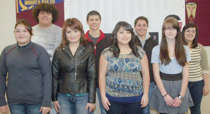 Sunnyside High School students of the month for December are (front row L-R) Carla Rodriguez, Brianda Torres, Karla Villanueva and Jade Pettibone; (back row L-R) Fabian Torres, Julian Naranjo, Dalia Romo and Jazmine Paxton.