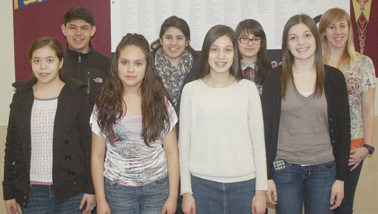 Sunnyside High School students of the month for January are (front row L-R) Rosalina Quintero, Dulce Bravo, Eunice Perez and Jessica Linde; (back row L- R) Manuel Calvillo, Roxanna Plancarte, Monica Venegas and Cassidy Moore. Not pictured is James Voorhies.