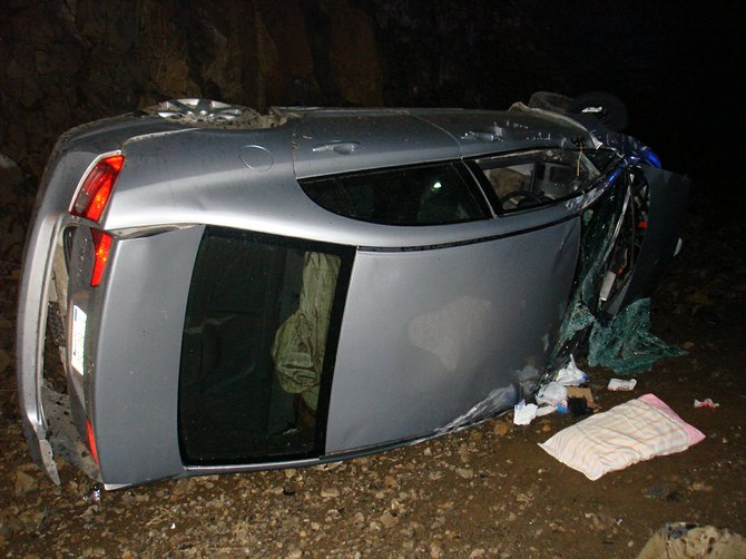 This 2008 Honda Civic ended up on its side following a crash last Thursday night along the White Bird Grade.