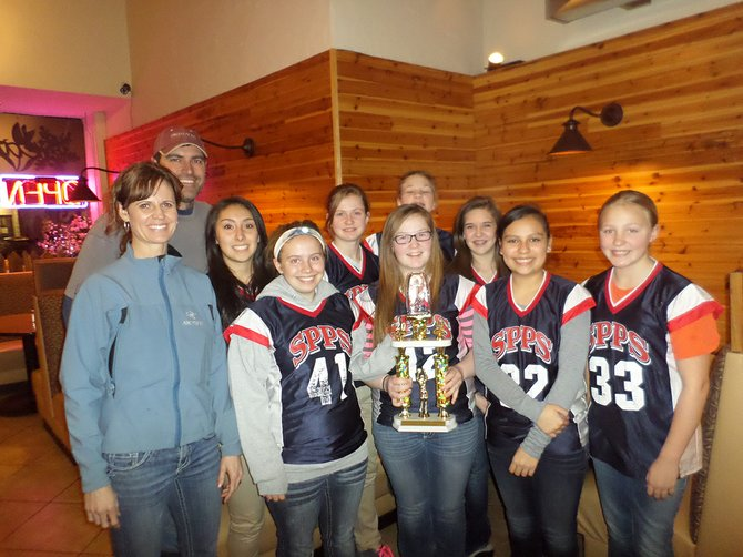 The Sts. Peter and Paul's grades 7-8 girls team finished fourth in their age group among about 350 total competitors. They won the sportsmanship trophy.  Members of the team are (from left): front row  coach Heidi Lindsley, Abby Asker, Molly Deford, Yadira Rojas and Rachel Chmelik; back row coach Russ Lindsley, Brenda Gomez, Paige Lindsley, Rebecca Kaschmitter and Victoria Rockwell.