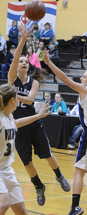 Grangeville junior wing Addie Lutz nabbed 11 rebounds during a 38-32 consolation final victory over Valley last Saturday, Feb. 22, at Kuna High School
