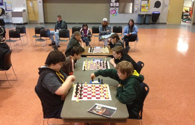 area students go head-to-head against the competition in the Region 20 Chess Tournament, which was held in The Dalles Middle School Commons on Feb. 15. Several local students qualified for a chance to compete at the state level in the coming months.	Contributed photo