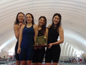 A GREAT RESULT for HRVHS swimmers (from left) Dhani Freeland, Kylie Webb, Danielle Miller and Caitlyn Fick, who finished third as a team at the Feb. 21-22 5A OSAA State Swimming Championships.