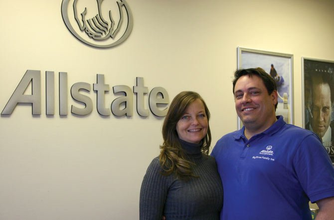 MOSIER NATIVE Martin Schwarzbach, right, has purchased the Allstate agency in The Dalles. He is operating it with his office manager and fiance, Shelley Donovan.