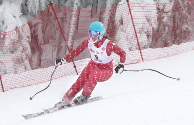 The Dalles Wahtonka'S Bailey Cordell is dialed in for Saturday's giant slalom race event located at Ski Bowl at Mount Hood Meadows on the Reynolds Run. Cordell put together two solid runs for a combined time of two minutes and 43.34 seconds to place third out of the 49 racers entered.