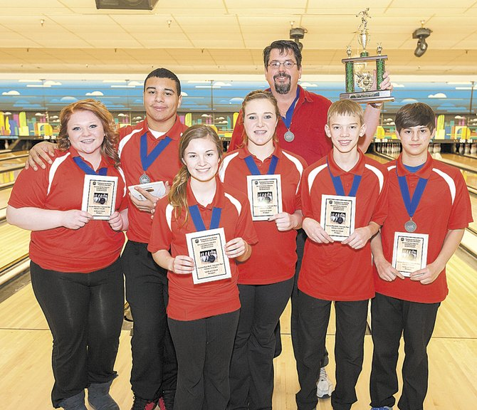 The Omak bowling team finished third at the state high school tournament Feb. 14-16 at Narrows Plaza Bowl. Photos of the team were delayed because parents spent three days on the west side for the Presidents' Day holiday. The team includes, from left Keeley Morris, Anthony Lewis, Jayden Johnson, Vanessa VanderWeide, coach Dale Dunckel, Chase Miranda and Drew Autry.