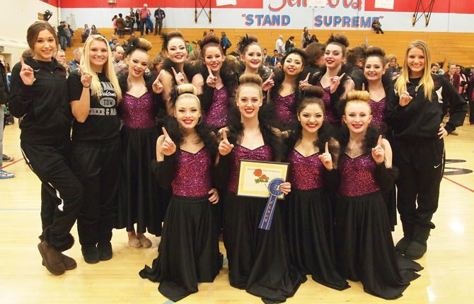 The Dalles Wahtonka dance team competed in its first competition of the 2013-2014 campaign this past weekend and secured first place in the Portland Interscholastic League Invitational at Madison High School in Portland. Against a large group of 5A schools, the Tribe was able to take hold of top honors over second-place Cleveland High School by five points. The dance squad consists of (pictured from left to right, front row), Taylor Sugg, Hannah Hinshaw, Alejandra Pena and Abbey Helseth. In the back row are (from left), Gabi Drake, Alissa Pastor, Sydney Langer, Lillia Chance, Andrea Beckley, Hannah Burford, Alissa Valles, Lauryn Despain, Lilly Ley and Alexis Pastor. This group competes again for state at Memorial Coliseum in Portland March 19.