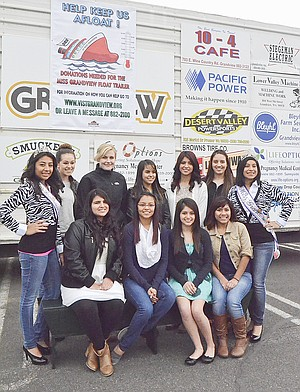Seeking community support for a new float trailer are (front L-R) 2014-15 Miss Grandview contestants Angelica Rodriguez, Griselda Orduno, Elizabeth Orduno and Adilene Pineda; (back L-R) 2013-14 Miss Grandview Princess Joceylyn Baca, contestants Kylie Serl, L