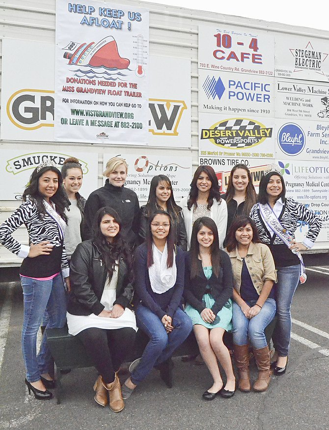 Seeking community support for a new float trailer are (front L-R) 2014-15 Miss Grandview contestants Angelica Rodriguez, Griselda Orduno, Elizabeth Orduno and Adilene Pineda; (back L-R) 2013-14 Miss Grandview Princess Joceylyn Baca, contestants Kylie Serl, Lecie Owens, Morgan Mendoza, Marissa Garza and Melisa Ramos, and 2013-14 Miss Grandview Analilia Granados.