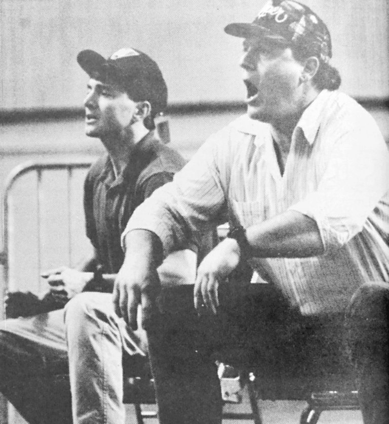 1994: Mabton wrestling coaches John Kilian and Tracy Pearson (L-R) shout out encouragement to Viking grapplers competing at Mat Classic VI in Tacoma. The Vikings earned 10th-place honors in the class B State competition.