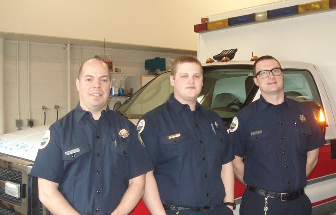New paramedic-firefighters at Mid-Columbia Fire and Rescue are, from left, Matt Lachance, Justin Kireck and AJ Mounsey. They were hired with a two-year federal grant.