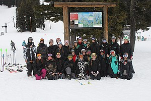 HRV ski team breaks for a photo op this week before practicing for the upcoming state championships, which run Monday and Tuesday for freestyle and Thursday and Friday for racing, at Mt. Hood Meadows.
