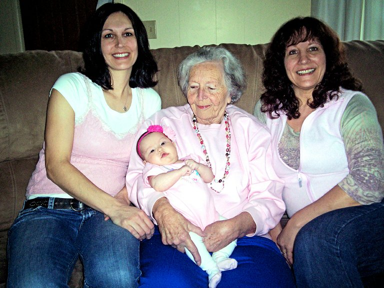 Grangeville High School graduate Leah (McCulley) Steinbruecker is pictured here with her grandmother, Doris Bowman (holding her great-granddaughter Jovie Ann Steinbruecker and her mother, Laura Smith.  The photo was taken at my Leah's Grandpa Glenn Bowman's 88th Birthday party at Laura's home Feb. 22.