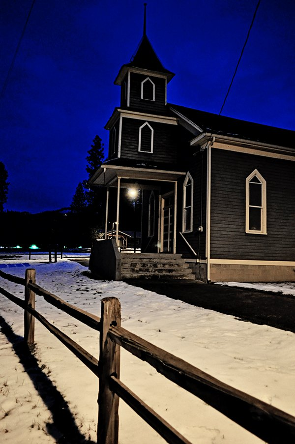 The First Indian Presbyterian Church in Kamiah, pictured just at sunset. This is one of Idaho County's oldest churches, organized in 1871.