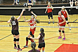 Kamiah and Clearwater Valley (Kooskia) middle school volleyball players battle it out on the court at the Prairie High School gym Saturday, March 1, at the Cottonwood Middle School 8th Grade Volleyball Tournament. Winner was Nezperce with Prairie in second place and Grangeville in third.