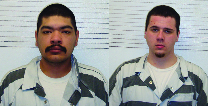 Following a joint investigation by Idaho County Sheriff's Office and Grangeville Police Department, officers on Tuesday afternoon, March 4, officers arrested (L-R) Peter Lujan, 29, and Anthony Ramirez, 19, on charges of delivery of a controlled substance.