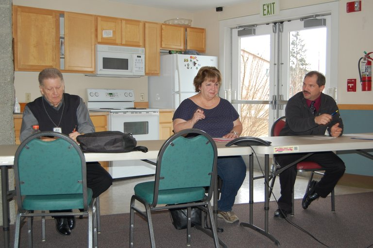 Three Rivers Hospital commissioners Jerry Tretwold, Vicki Orford and Tracy Shrable discuss the next steps in the CEO selection process Tuesday morning. Commissioners Cherryl Thomas and Michael Pruett joined the meeting via speakerphone.
