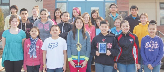 The Harrison Middle School math team did extremely well at the Lower Valley Mathematics Competition in Granger this past Monday night. HMS students took first place at each grade level and won first place honors as a school out of seven local schools in the competition. Sierra Vista Middle School also earned second place honors at the competition, with its eighth graders earning third place honors. Pictured is the HMS math team (bottom row L-R) Marlee Weets, Lily Froese, Ulysses Gutierrez, Yulianna Godinez, Ben Rios, Symantha Lopez and Ebony Andrade Rodriguez; (middle row L-R) Fernando Torres, Carla Cardenas, Jose Ortiz, Alex Partch, Rebekah Gomez, Heidy Lemus and Kameran Rodriguez; (back row L-R) Margarita Romero, Morgan Gardner, Daisy Abonza, Andrea Barcenas, Estephany Gonzales, Jose Ahumada and Emanuel Manzo. Not pictured are Janissa Gomez and McKensie Nguyen.