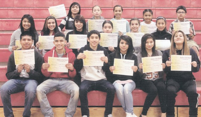 Sunnyside's Harrison Middle School students of the month for February are (front row L-R) Martin Tlatenchi, Alex Torres, Marc Garza, Angela Sanchez, Kimberly Solorio and Ashley Mejia; (second row L-R)  Paola Osorio, Sarah Ramos, Brenda Fernandez, Mariela Contreras, Makilie Hernandez and Kiana Hellner-Gomez; (top row L-R) Viviana Campos, Hannah Amaro, Abby Zavala, Griseldia Gonzalez and Jesus Carrillo. Not pictured: Priscilla Negrete.