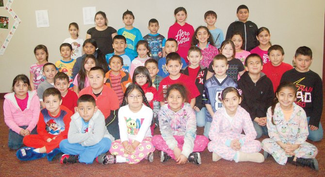 Sunnyside's Washington Elementary School Accelerated Readers for the month of February include (front row L-R) first graders Adolfo Cisneros, John Avila, Ashley Gabino, Destiny Jackson, Karoline Gutierrez and Jocelyn Mendoza; (second row L-R) Nancy Delgado, Kevin Valencia, Jessi Jaimes, Jeryka Nava, Anjel Claustro, Dominic Hall, Angel Lopez and Adrian Mendoza; (third row L-R) Mateo Mora, Bianca Osorio, Stefon Anciso, Jayden Becho, Hector Martinez, Madison Sabedra and Arron Vargas; (fourth row L-R) fourth graders Samantha Hernandez, Christian Jacobo, Alondra Sanchez, Mateo Armendariz, Genesis Garibay, Ralph Hernandez, Alexis Daniels, Galilea Jimenez and Evelyn Sanchez;  (back row L-R) Mariana Alvarado, Sugar Lily Alviso, Alfonso Ceja,  Mohamd Sarameh, Nancy Zaragoza, Rene Garza and Jdren Mungia.