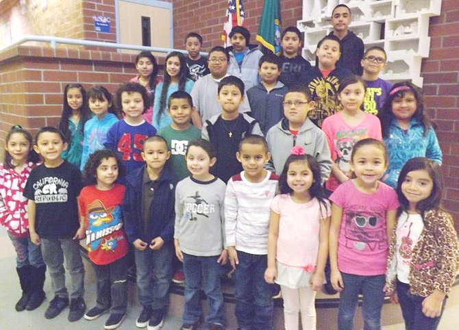 Mabton's Artz-Fox Elementary School students of the month for February are (bottom row L-R) Alma Virrueta, Elias Sanchez, Mesiah Valdez, Jesus Camacho, Avelynn Antram, Adrian Calixto, Angelic Cardenas, Maritza Galarza and Ashley Brambila; (second row L-R)  Breana Mejia, Korina Medina, Roberto Jimenez, Lino Rivera, Antonio Miranda, Kaden Desmarais, Yaretzy Espinoza and Kimberly Quesada; (third row L-R)  Rosa Leon, Keyden Espinoza, Enrique Ochoa, Angel Duran, Pedro Garcia and Andrez Zavala; (top row L-R)  Luis Macedo, Ismael Bahena, Fernando Lemus and Armando Morales. Not pictured: Bryan Armenta.