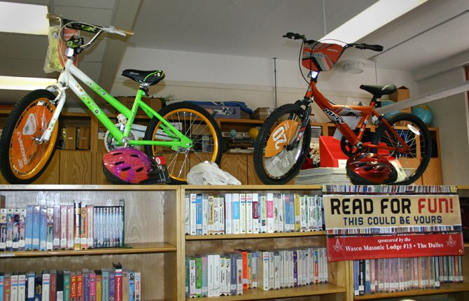 "These bikes at Colonel Wright Elementary are part of the ""Books for Bikes"" display, donated by the area Blue Lodge Masons for the club's second ""Books for Bikes"" campaign."