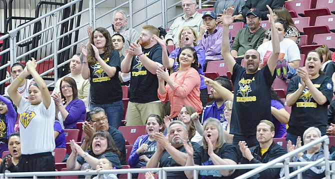 Lady Viking fans are on their feet after the ball makes it into the basket during last Friday's game against the Okanogan Bulldogs.