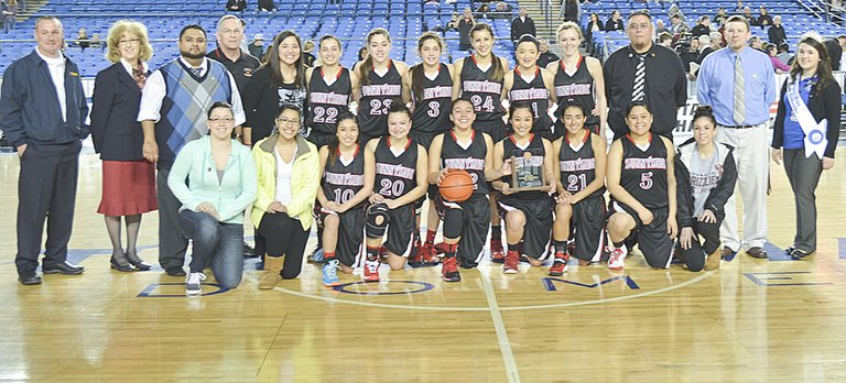 The Sunnyside Lady Grizzly basketball team made history last Saturday with the program's highest finish ever at the State 3A tourney, claiming fourth place honors. Players on this year's team included Mireya Herrera, Vanessa Alvarez, Summer Hazzard, Jasmine Lua, Jazel Trevino, Aubrey Isquierdo, Natalia Bazan, Selena Rubalcava, Emilee Maldonado, Jessica Mendoza, Jordan Rodriguez and Tiana Perez.