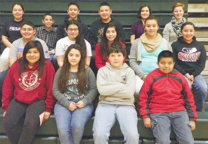 Sunnyside's Sierra Vista Middle School students of the month for February are (front row L-R) Moncerrat Marquez, Maribel Guizar, Josiah Perales and Miguel Silva; (middle row L-R) Angel Gonzalez, Mariela Rivera Garcia, Zarelia Mendez, Andrea Limon and Gabriela Licona-Badillo; (back row L-R) Maricela Santana, Victor Moreno, Tyler Hunsaker, Austin Campos, Maria Cruz Diaz and Leah Sample. Not pictured: Esmeralda Ambriz and Zaira Farias.