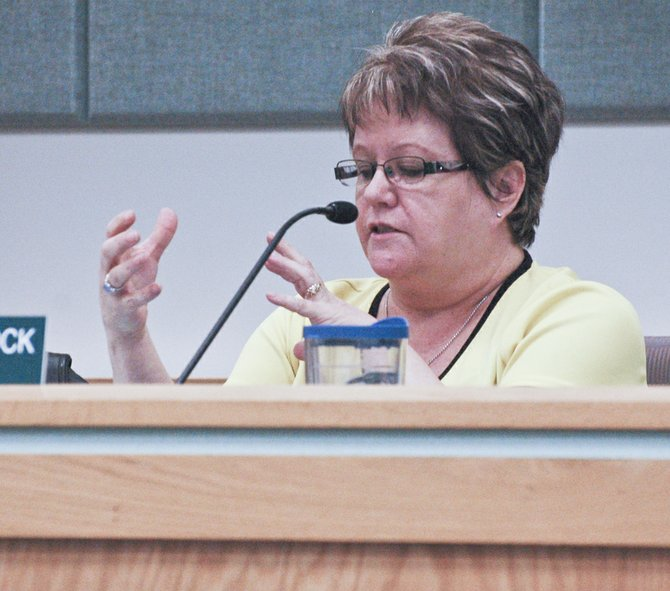 Councilwoman Theresa Hancock expresses that gang prevention and gang intervention are like apples and oranges, at Monday night's Sunnyside City Council meeting. Hancock did not want funding for intervention to be linked to parks and rec funding.