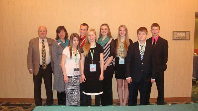 Representative Paul Shepherd, Senator Sheryl Nuxoll, Idaho County 4-H delegates Mitchel Nuxoll, Rachel Kelley and Kortney Sims, and (front, L-R) Idaho County 4-H delegates Hailey Williams and Sydney Andrews.