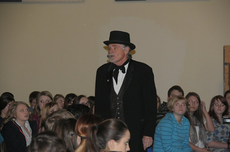 Idaho historian Garry Bush spoke to Grangeville and Clearwater Valley High School students about Abraham Lincoln's ties to Idaho at assemblies March 5.