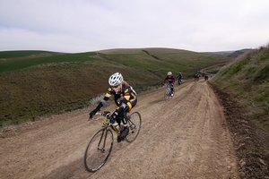Gorge roubaix riders from last year's successful inagural event power up a gravel road east of The Dalles.