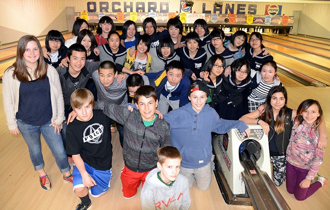 Tsuruta visitors at Orchard Lanes Monday evening