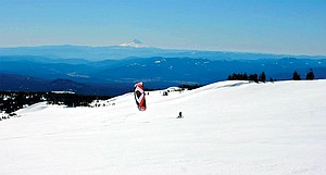 wind powered exploration on the south side of Mount Adams: Brad Gordon and Bob Riviello logged what could be the first-ever snowkite session on the mountain last weekend.